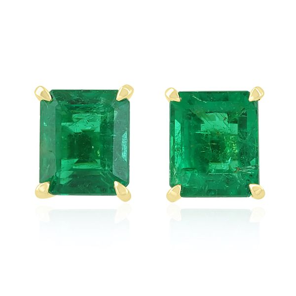 Custom 18KY Emerald-Cut Gem Emerald Earrings 4.60cts Washington Diamond Falls Church, VA