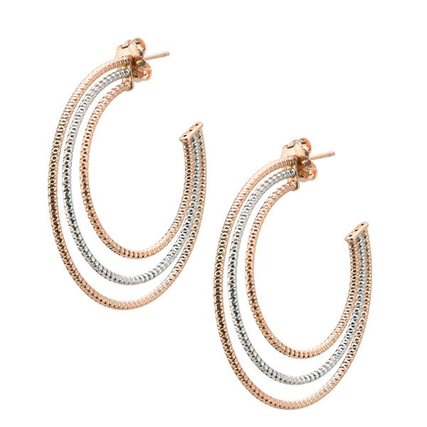 SS ROSE GOLD PLATED LARGE TRIPLE HOOP