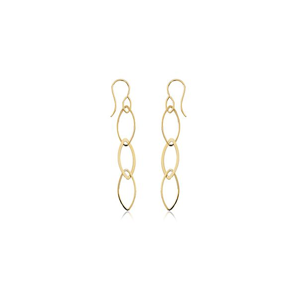 14KY Linked Marquise Drop Earrings