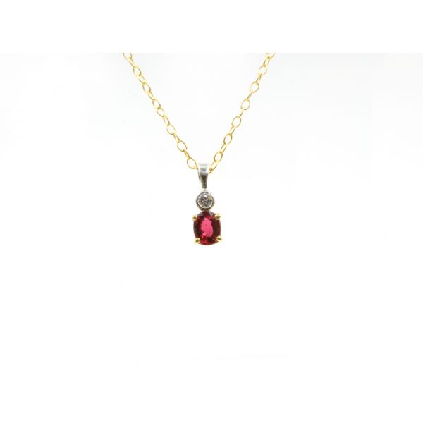Two Tone Gold Diamond  Garnet Pendant Wyatt's Jewelers Seattle, WA
